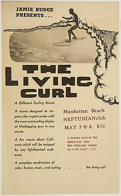 1965 Surf Movie Poster THE LIVING CURL – Jamie Budge