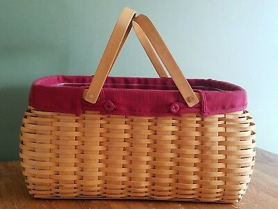 Longaberger Retired Craft Keeper Basket with Fabric and Plastic Liners