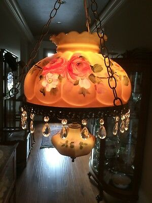 Vintage Hand Painted Roses Hanging Victorian Style Lamp Gorgeous