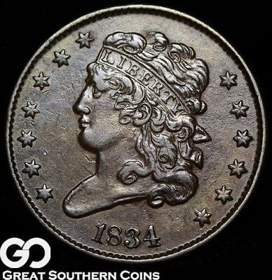 1834 Half Cent, Classic Head, Nice Choice AU++/Uncirculated