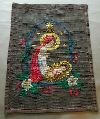 Swedish Xmas: Cross-stitched sampler, Nativity scene with Mary and baby Jesus