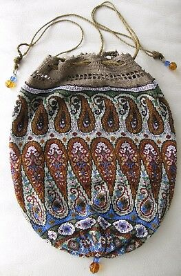 Antique Victorian Amber Paisley Crochet French Micro Bead Large Drawstring Purse
