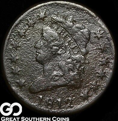 1812 Large Cent, Classic Head, Choice VF Details, Scarce Coin!