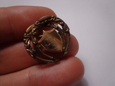 Antique Victorian Gold Tone Shield Coat Of Arms Brooch