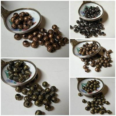 Nickel Free 4mm or 5mm Corrugated Fluted Round Beads Bronze Copper Gunmetal