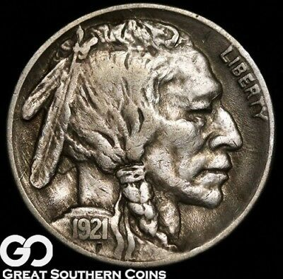 1921-S Buffalo Nickel, Choice XF Key Date, Tough! ** Free Shipping!