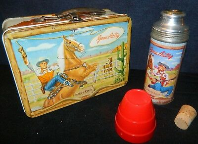1950's Gene Autry Melody Ranch Vintage Metal Lunch Box w/ Thermos Universal, USA