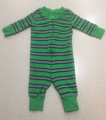 Hanna Anderson Organic Cotton Green Blue Striped Pjs EUC Worn Few Times 50 0-6M