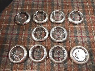 Vintage Sterling And Glass Coasters Drink Table 10 Pc Wow