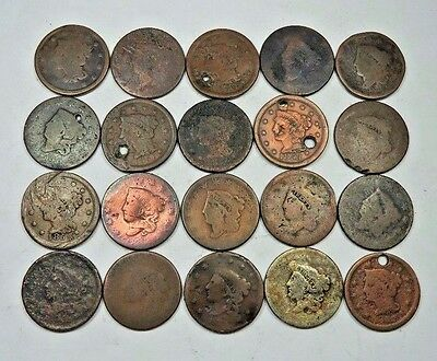 (20) Mixed 1800's Large Cent Lot // 20 Coins //  (LCL42)