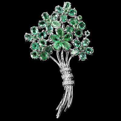 Natural Aaa Green Emerald Columbian & White Cz Sterling 925 Silver Flower Brooch