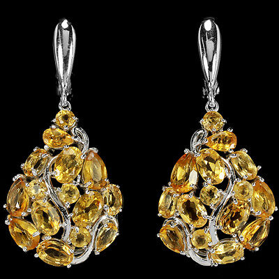 Natural Aaa Orangish Yellow Citrine Mixed Shape Sterling 925 Silver Earring