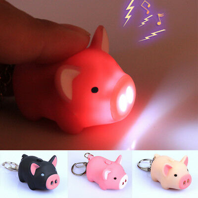 Lovely Pig Key Chain New Hot With LED Light Animal Super Bright Sound Gift