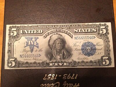 1899 $5 Silver Certificate Nice High Grade Chief
