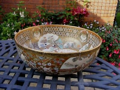 Large Satsuma Bowl Fully Decorated Inside And Out Base Marks In Gold (At Fault)