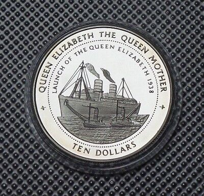 1998 Fiji Silver Proof $10 Coin The Queen Mother Collection & Coa