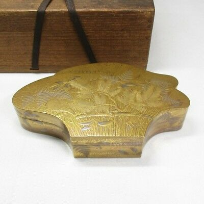 H733: Highest class Japanese old lacquer ware case with amazing MAKIE, NASHIJI
