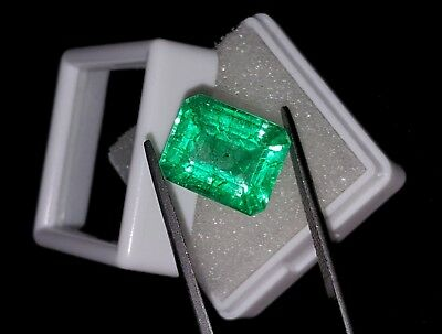 Tremendous 9.42 Ct Natural Emerald Shape Certified Colombian Emerald