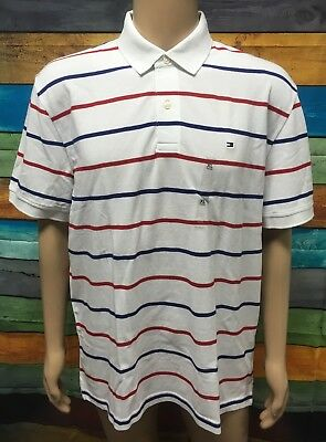 (NEW) Tommy Hilfiger Mens Short Sleeve Polo Shirt Size: XL White/Red/Blue Stripe