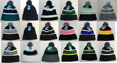 12pc Solid Color Striped Pompom Beanie Winter Hat Toboggan WHOLESALE BULK LOT