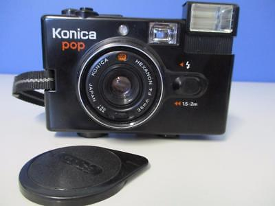 Konica Pop 35mm Compact Film Camera Point & Shoot + Case & Lense cover Japan