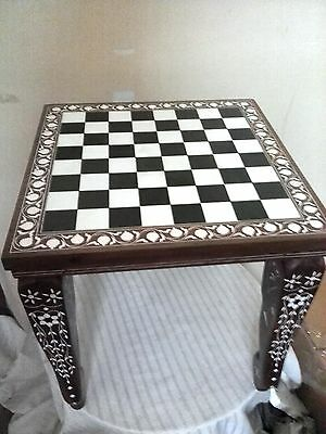 """12"""" Square Chess Board Table Decor Elephant Inlaid Work Rosewood Table Foldable"""