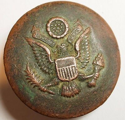 Vtg WWI U.S. Army Calvary Great Seal EAGLE Horse Bridle Buckle Rosette Copper