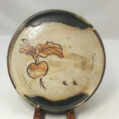 A312: Real old Japanese ORIBE pottery plate with Popular ANDON-ZARA