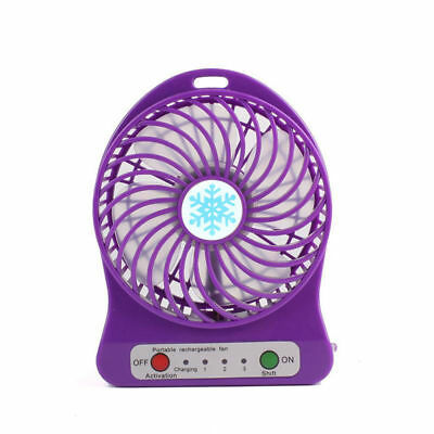 Portable Rechargeable LED Fan air Cooler Mini Operated Desk USB - 18650 Battery