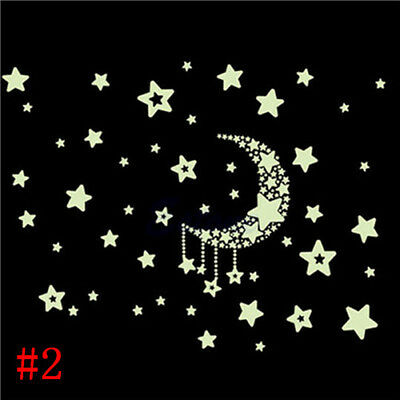 1 Sheet Glow In The Dark Moon and Stars Wall Sticker Baby Bedroom Home Decor