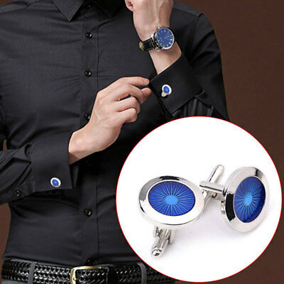 Royal Round Blue Crystal Cufflinks For Mens Shirt Cuff Links Wedding Groom Gift