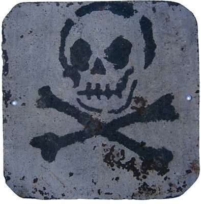 SIGN Skull & Bones PLATE Iron Stop DANGER Attention ww1 or WW2 wwI WWII Metal EU