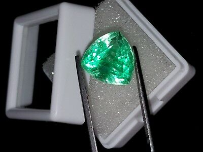 Amazing Certified Trillion Shape 6.66 Ct Natural Colombian Emerald Gems