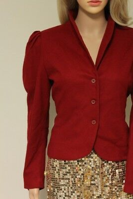 vintage 70s PATTY WOODARD dark red virgin wool puff sleeve blazer SMALL