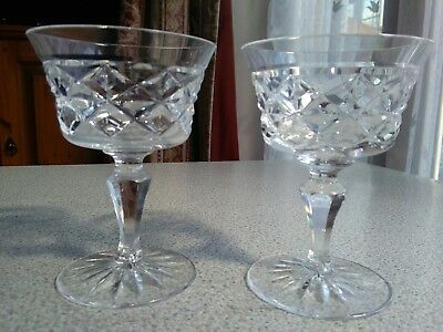 Vintage Crystal Cut Clear Glass Champagne Saucers vgc