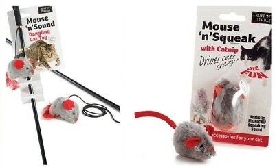 Mouse 'n' Squeak Toy with Catnip Realistic Squeak Sound with or without Dangler