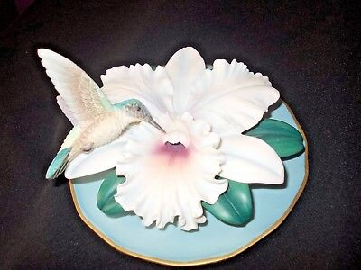 Bradex 3D Sculptural Fragile Beauty Hummingbird Plate plaque Paradise Orchid