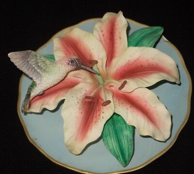 Bradex 3D Sculptural Fragile Beauty Hummingbird Plate plaque Celestial Lily