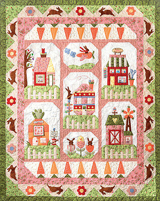 Bunny Town Quilt Set Of 7 Applique Piecing Patterns Plus Accessory Fabric Pack