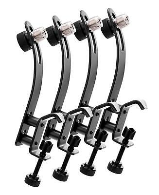 "4x Drum Set Microphone Support Clamp Mic Holder Clip Snare Tom Clamp 3/8"" 5/8"""