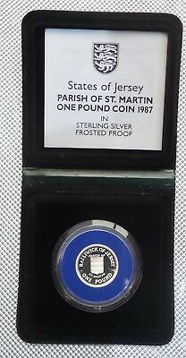 1987 Royal Mint Jersey  Silver Proof £1 Coin Parish Of St Martin Cased & Coa