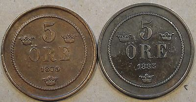 Sweden 1875+83 Five Ore Mid Grade as Pictured