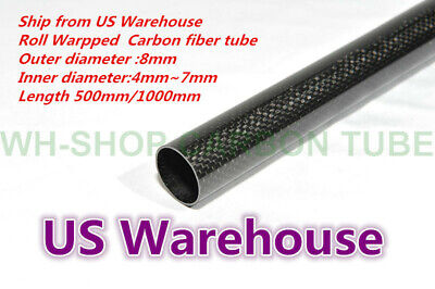 3K Carbon Fiber Tube OD 8mm  x ID 6mm Roll Wrapped Suit for RC Helicopter 8*6 H