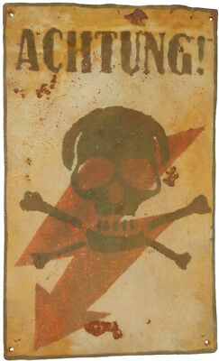 GERMANY Big Sign SKULL & BONEs Plate ELECTRIC Danger ATTENTION ww2 WWII Iron GER