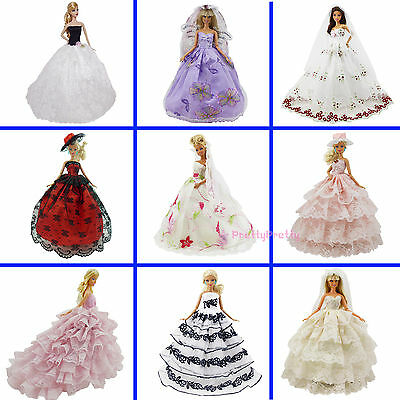 Lot Ball Gown Beauty Strapless Dress Handmade Clothes Outfit For Barbie Doll #GC