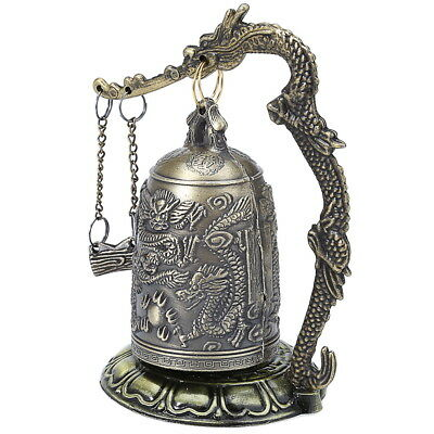 Zinc Alloy Zinc Chinese Retro Bronze Lock Dragon Carved Buddhist Bell Gift