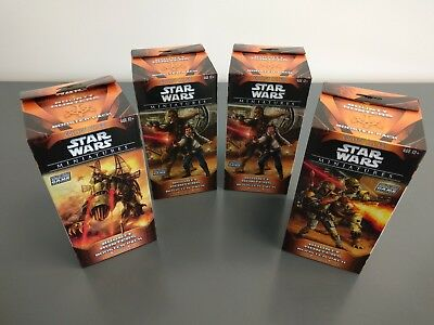 "NEW Lot of 4 Star Wars Miniatures Bounty Hunters ""Huge"" Booster Packs, SEALED"