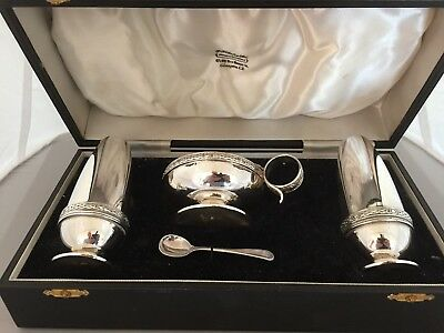 Beautiful 4 Piece Quality And Heavy Silver Plated Cruet Set With Celtic Design