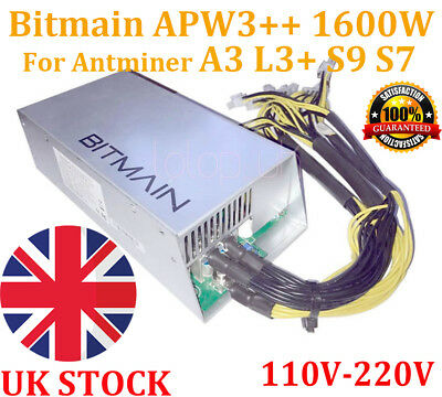 Original BITMAIN APW3++ 1600W DC-12V PSU Power Supply ANTMINER S9 A3 L3+ D3 T9