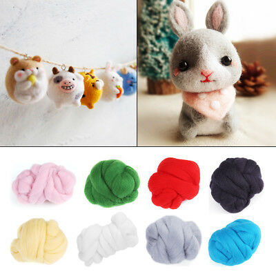 8Colors Needle Felting Wool Roving Spinning Sewing Trimming Handiwork Material